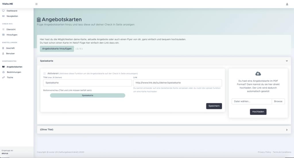 Admin Dashboard Angebotskarten Übersicht